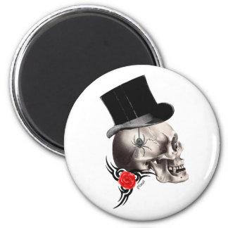 Gothic skull and rose tattoo style fridge magnet