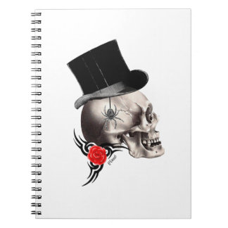 Gothic skull and rose tattoo style notebook