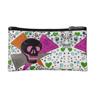 Gothic Skull - Black and Pink on White Makeup Bag