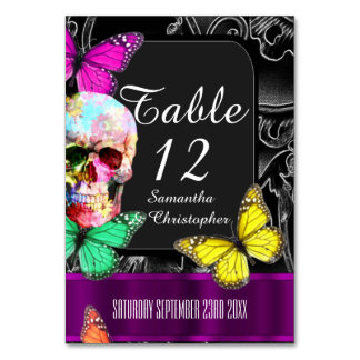 Gothic skull, black and purple wedding table cards