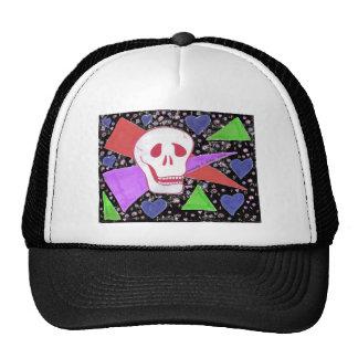 Gothic Skull blue heart black Cap