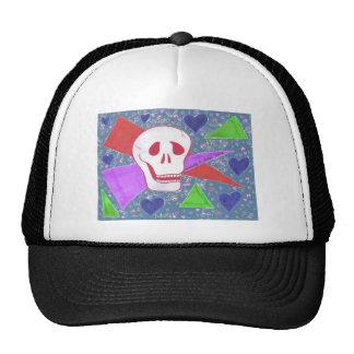 Gothic Skull blue heart blue Cap