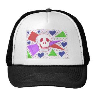 Gothic Skull blue heart Cap
