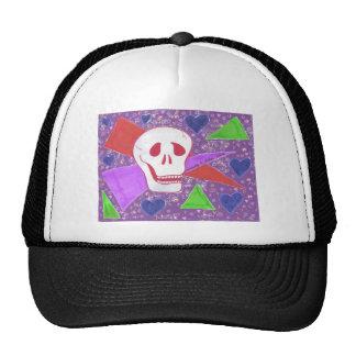 Gothic Skull blue heart lilac Cap