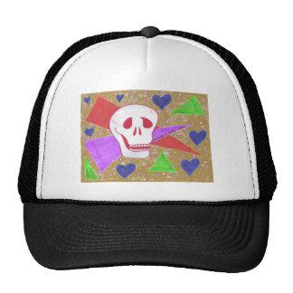 Gothic Skull blue heart tan Cap