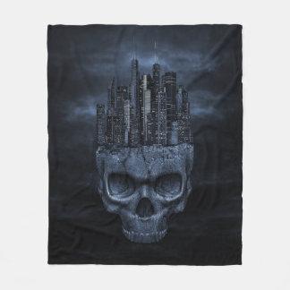 Gothic Skull City Fleece Blanket