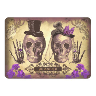 Gothic Skull Couple Day of The Dead Wedding purple Card