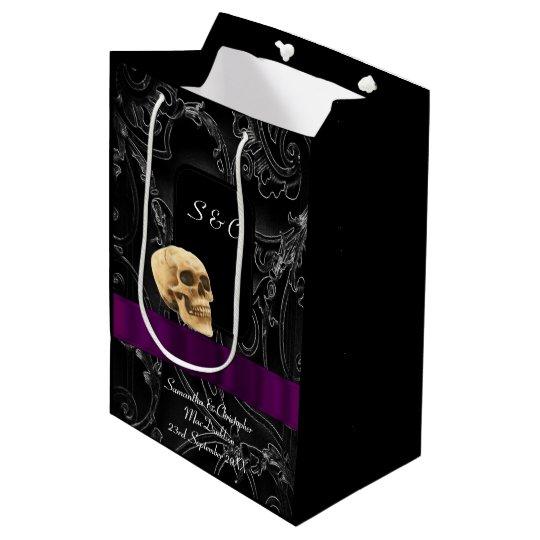 Gothic skull dark black themed medium gift bag