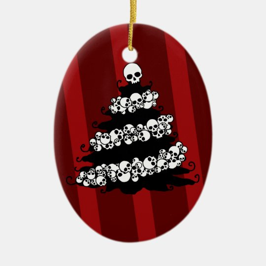 Gothic Skull Garland Tree Christmas Ornament