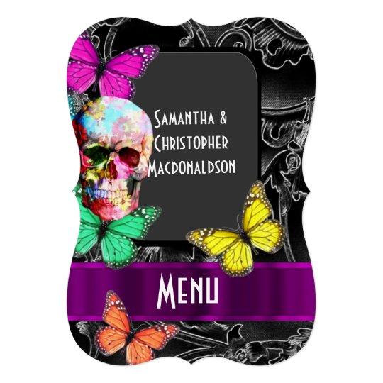 Gothic skull on dark black wedding menu 13
