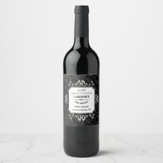 Gothic Skull Paisley Pattern Wine Label