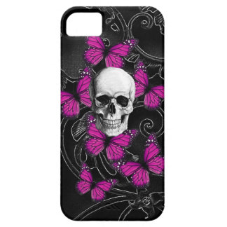 Gothic skull & purple butterflies iPhone 5 cover