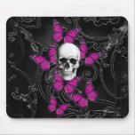 Gothic skull & purple butterflies mouse pads