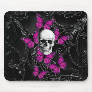 Gothic skull purple butterflies mouse pads