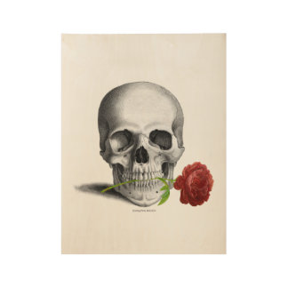 Gothic Skull Rose Horror Fantasy Wood Poster