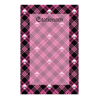 Gothic Skull Tartan Plaid Personalized Stationery