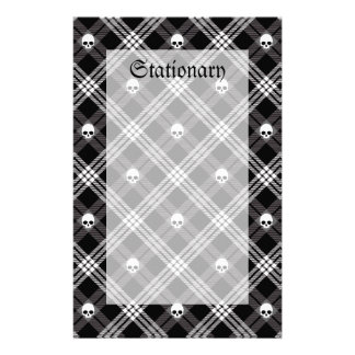 Gothic Skull Tartan Plaid Stationery Paper