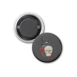 Gothic Skull With Rose and Raven Magnet