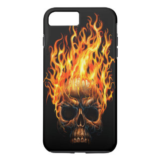 Gothic Skull Yellow Orange Fire Flames Pattern iPhone 8 Plus/7 Plus Case
