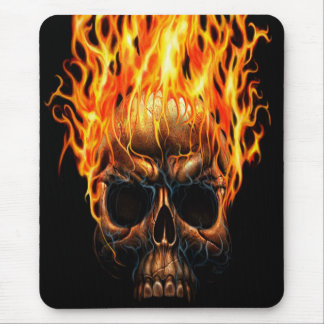 Gothic Skull Yellow Orange Fire Flames Pattern Mouse Mat