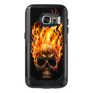 Gothic Skull Yellow Orange Fire Flames Pattern OtterBox Samsung Galaxy S7 Case