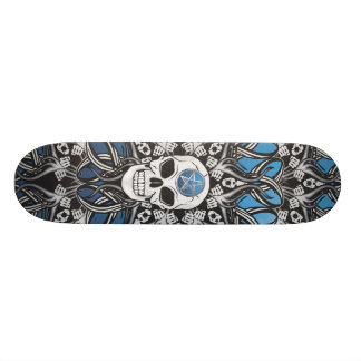 Gothic Skulls - Blue Skateboard Deck