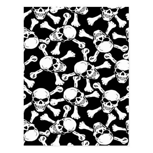Gothic Skulls Crossbones Pattern Post Cards