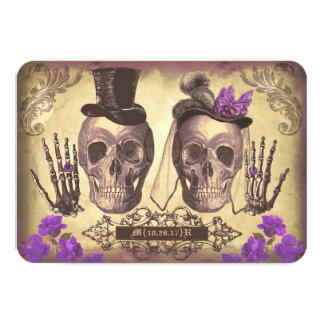 Gothic Skulls Day of The Dead Wedding RSVP cards 9 Cm X 13 Cm Invitation Card
