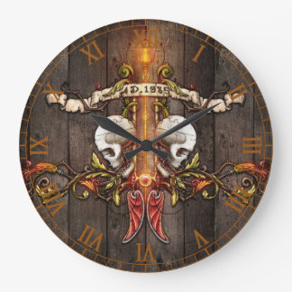 Gothic Skulls Large Clock