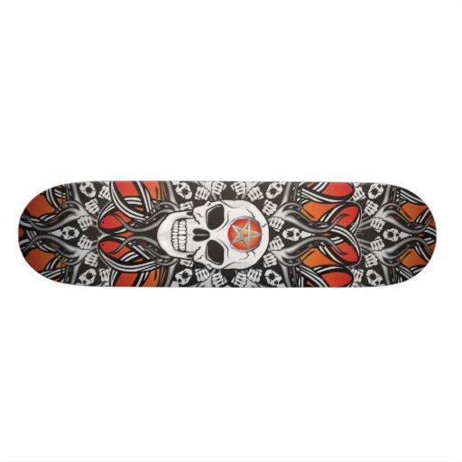 Gothic Skulls - Orange Custom Skateboard