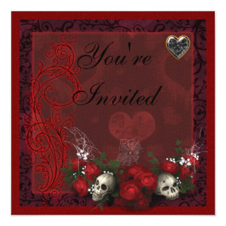 Gothic Skulls Roses & Hearts Black & Red Birthday Card