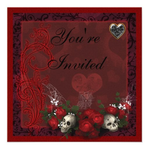 Gothic Skulls Roses & Hearts Black & Red Birthday Personalized Invites