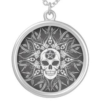 Gothic Skulls Round Pendant Necklace