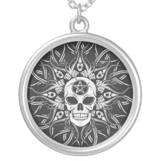 Gothic Skulls Silver Plated Necklace