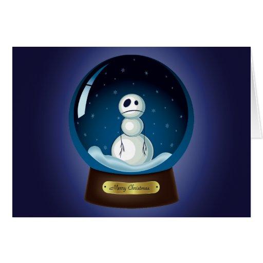 Gothic Snowman Snow Globe Greeting Cards