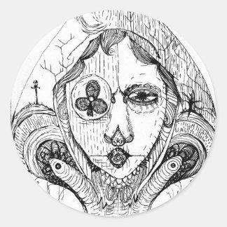 Gothic Spade Round Sticker