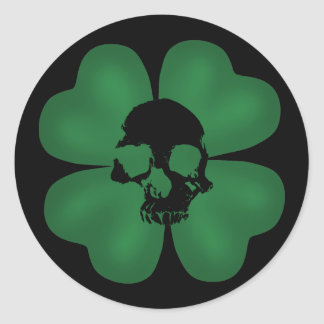 Gothic St Patricks Day spooky shamrock Classic Round Sticker