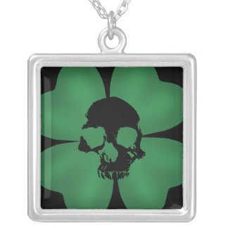 Gothic St Patricks Day spooky shamrock Silver Plated Necklace