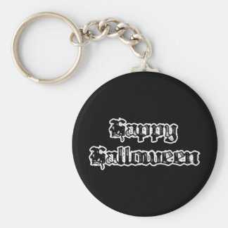 Gothic Stamp Happy Halloween Basic Round Button Key Ring