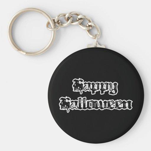 Gothic Stamp Happy Halloween Keychain