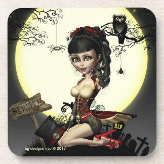 Gothic Steampunk Lolita Digital Art Coasters