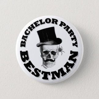 Gothic steampunk skull bachelor party 6 cm round badge