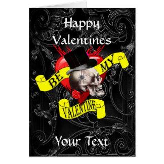 Gothic steampunk skull  valentines day greeting card