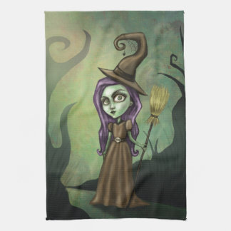 Gothic Steampunk Witch Tea Towel