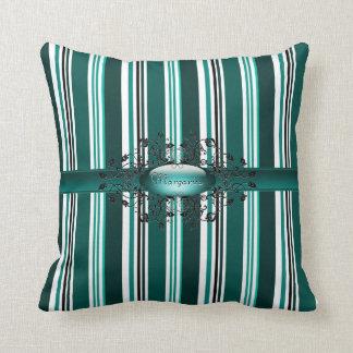 Gothic stripes in green American MoJo Pillow Throw Cushion