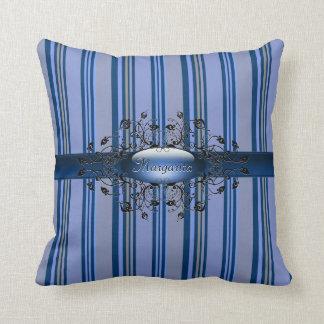 Gothic stripes in indigo American MoJo Pillow