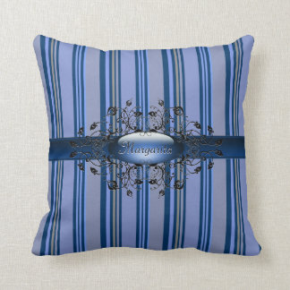 Gothic stripes in indigo American MoJo Pillow Cushion