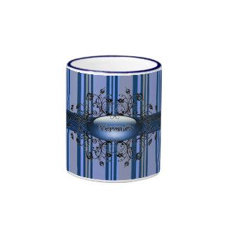 Gothic stripes in indigo mug