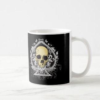 Gothic style black ace of spades with skull, coffee mug