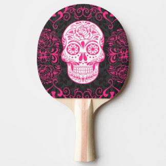 Gothic Sugar Skull Pink Black Ping Pong Paddle